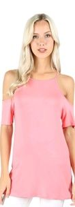 Pink off the shoulder tunic cutout strappy shirt